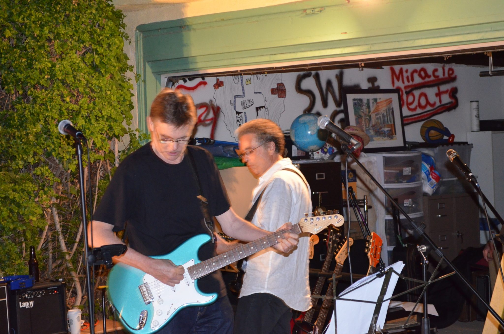 The Innocent Bystanders play a live music at a backyard party in San Diego.