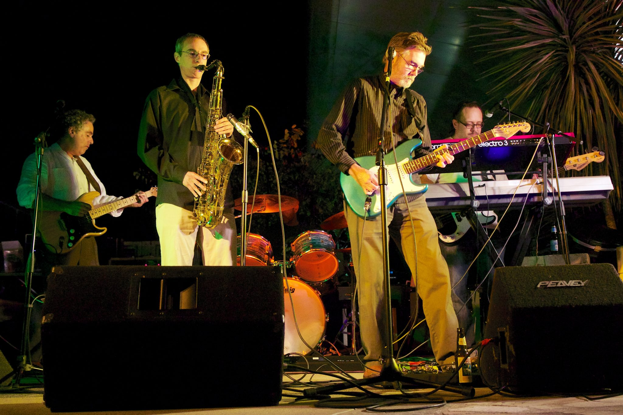 The Innocent Bystanders, a cover band, perform live music in Easy Village, San Diego