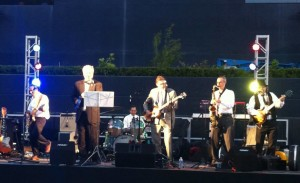 San Diego band The Innocent Bystanders plays rock, soul, and jazz on the field at PetCo Park.
